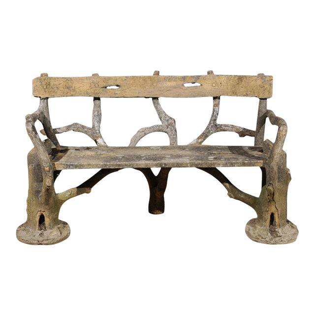 French Late 19th Century Faux-Bois Concrete Bench with Vases Flanking the Sides For Sale