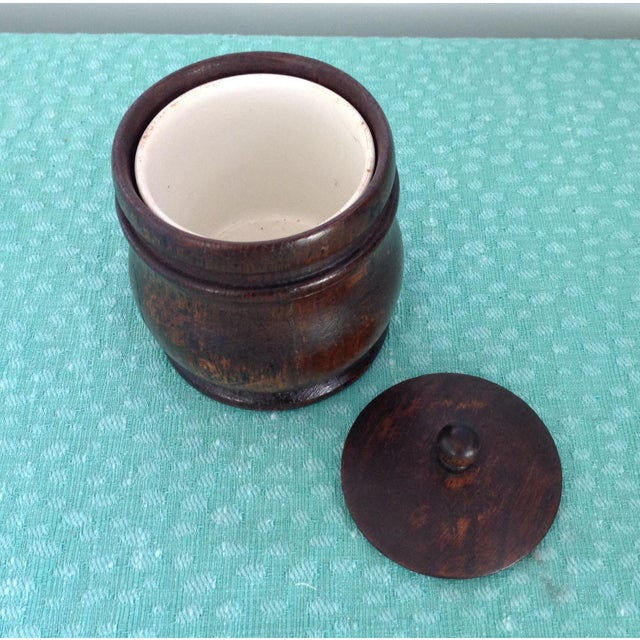 French Antique 1920s French Oak Tobacco Jar with Ceramic Cup Liner For Sale - Image 3 of 4