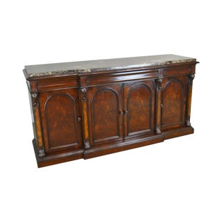 Henredon Mahogany Empire Style Marble Top Sideboard For Sale