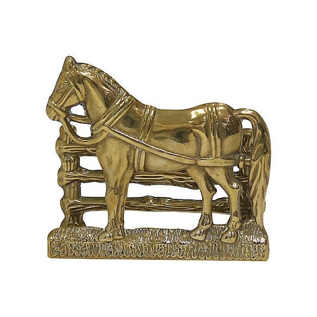 Cottage Antique English Brass Horse Letter Rack For Sale - Image 3 of 4