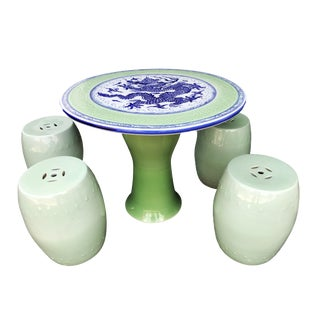 "Chinoiserie Celadon Table W/ Garden Stools, 28"" H by 34"" D For Sale"