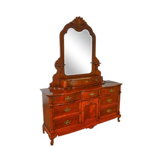 Lexington Cherry Victorian Style Long Dresser W/ Mirror For Sale