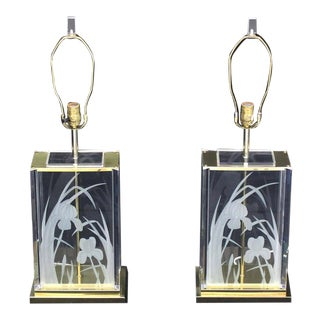 Pair of Etched Flowers Table Lamps Fredrick Ramond For Sale