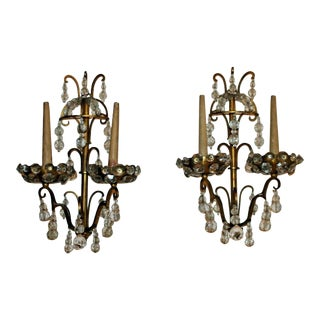 C. 1930's French Art Deco Marked Maison Jansen Gilt Bronze/ Crystal Sconces - a Pair For Sale