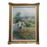 """Image of 1930s Vintage """"Cottage in a Beautiful Garden Landscape"""" Oil Painting by Francois Florit For Sale"""