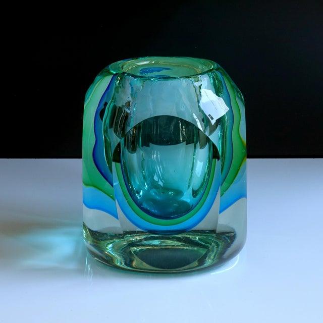 Murano Murano Flavio Poli Seguso Green Blue Block Votive Trinket Paper Weight For Sale - Image 4 of 7