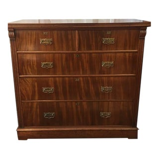 1900s Antique English Flamed Mahogany Chest Of Drawers For Sale