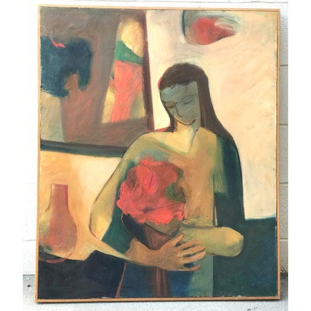 Mid-Century Figurative Acrylic Painting - Image 2 of 9