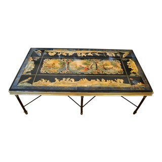 Italian Maison Jansen Hand Painted Slate Marble & Bronze Low Coffee Table, 1920s For Sale