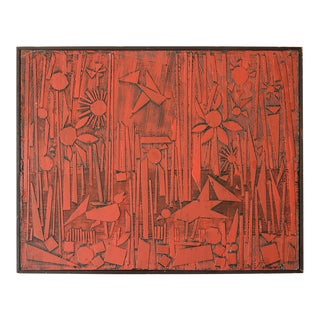 1960s Robert Gilberg Mixed Media Bas-Relief Red Birds Forest Painting For Sale