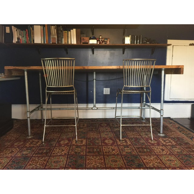 Modern Rustic Sit/Stand Desk & Chairs - Set of 3 For Sale - Image 3 of 8