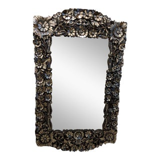 Contemporary Floral Mosaic Style Wall Mirror For Sale