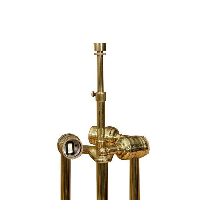 Mid-Century Modern Brass Post Table Lamp For Sale - Image 3 of 4