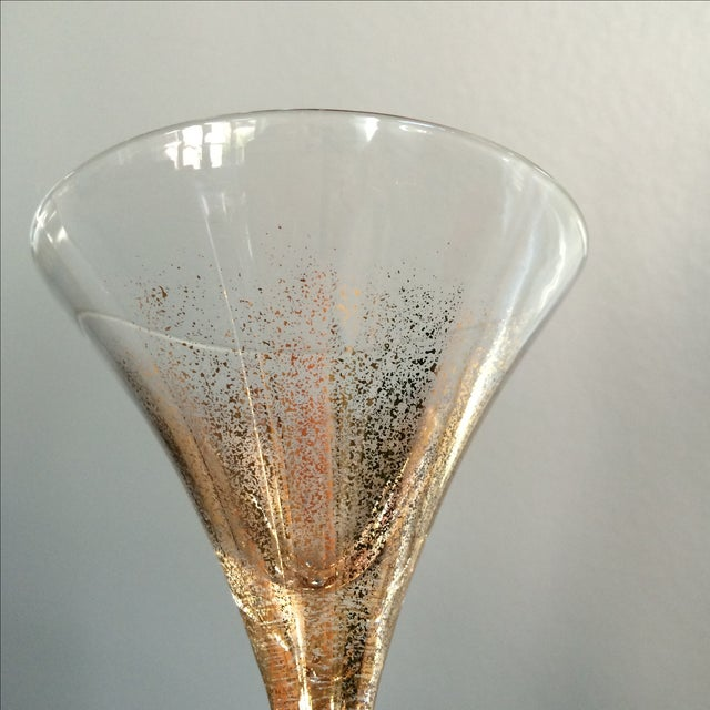 Vintage Gold Speckled Glasses - A Pair For Sale - Image 5 of 9