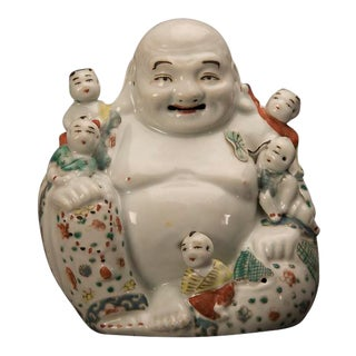 Chinese Happy Buddha Porcelain Figure, Kuang Hsu Period circa 1875 For Sale