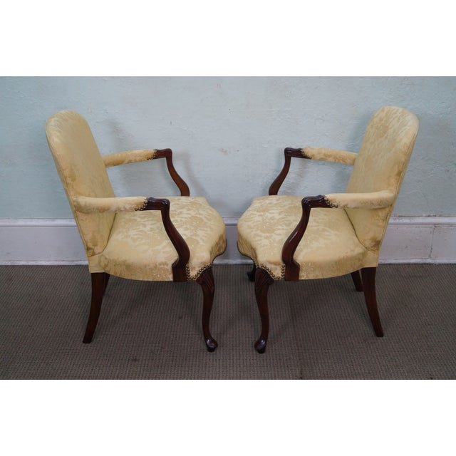 Hickory Co. Mahogany Queen Anne Armchairs - Pair - Image 3 of 10