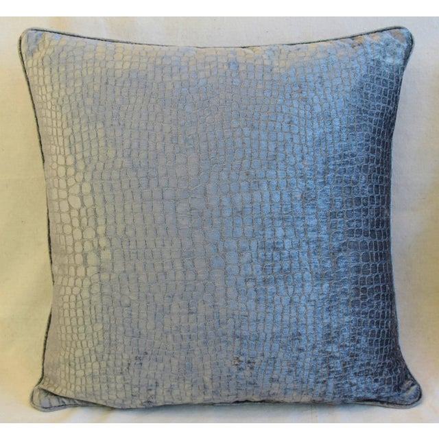 """Contemporary Gray/Silver Crocodile Alligator Textured Feather/Down Velvet Pillows 23"""" Square - Pair For Sale - Image 3 of 12"""
