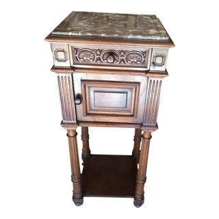French Marble Top & Walnut Nightstand