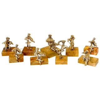 Nine Sam Philipe Gilt Sterling Judaica Sculptures For Sale