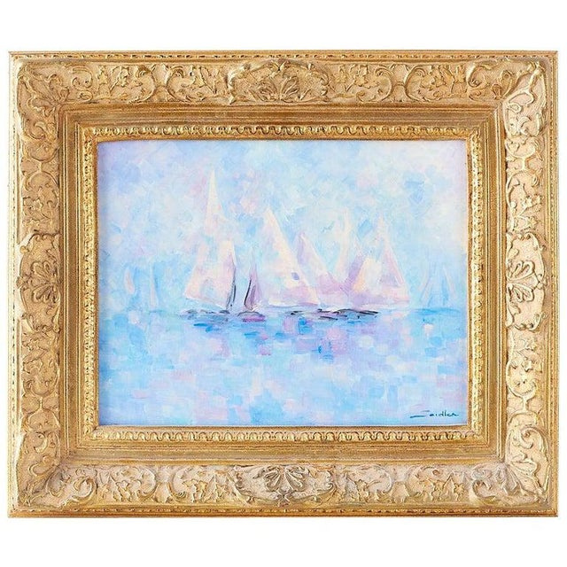 Midcentury Oil on Canvas Painting of Sailboats For Sale - Image 13 of 13