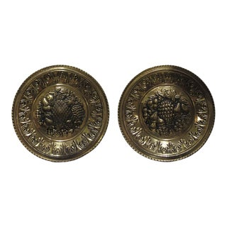 Fruit Themed Brass Wall Plates - a Pair For Sale