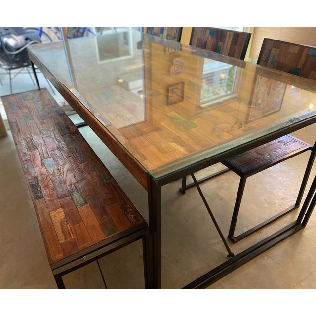 Modern Venice Industrial Iron & Crate Dining Set - 5 Pieces For Sale - Image 3 of 6
