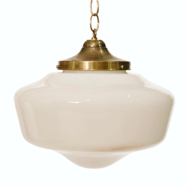 Art Deco Glass With Brass Cap Pendant For Sale In New York - Image 6 of 6