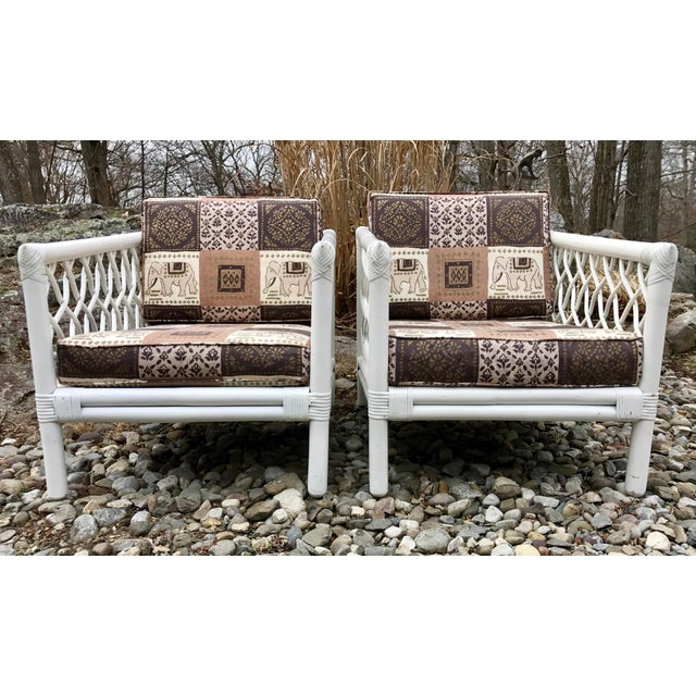 Boho Chic Vintage Willow & Reed Rattan Arm Chairs - A Pair For Sale - Image 3 of 11