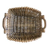 Image of Rustic Woven Bamboo Wood Basket For Sale