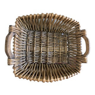 Rustic Woven Bamboo Wood Basket For Sale