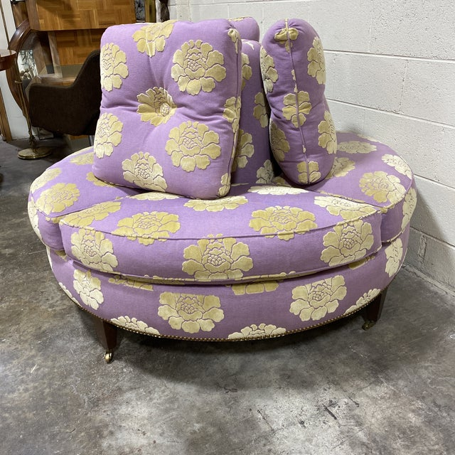 """Often referred to as a """"conversation"""" settee or Borne settee or Indescret in French, this custom upholstered piece is the..."""