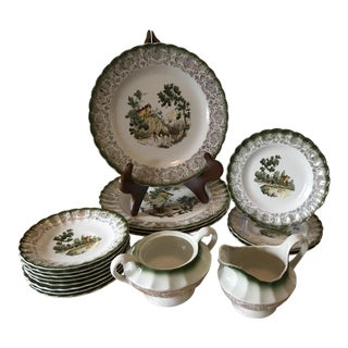 American Limoges Chateau France in Mandarin Green Dinnerware - Set of 17 For Sale