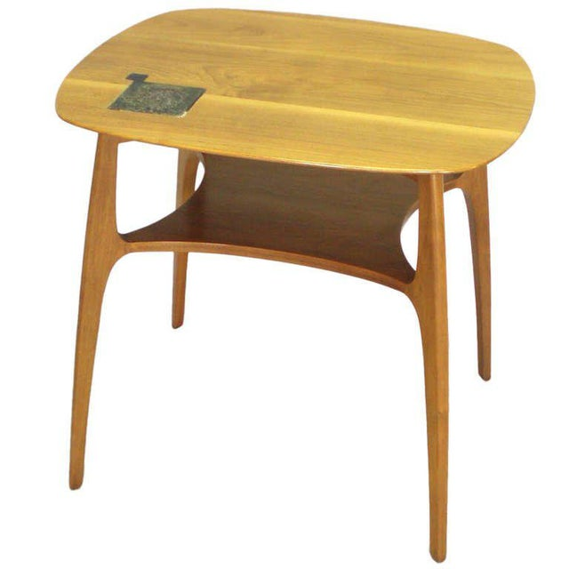 Wood Edward Wormley for Dunbar Occasional Table With Tiffany Tile For Sale - Image 7 of 7