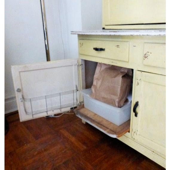 Vintage Farmhouse 2-Piece Painted Hoosier Cabinet For Sale - Image 4 of 8