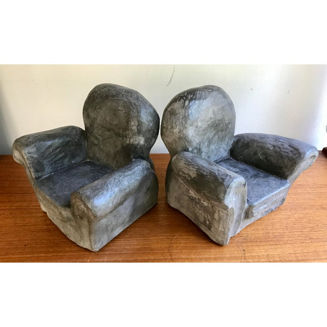 Boho Chic Gray Club Chair Bookends For Sale - Image 3 of 8