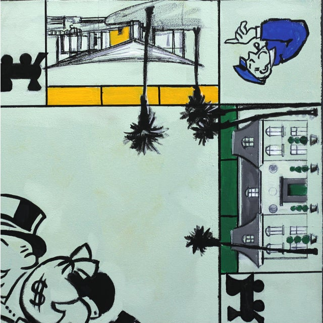 """Kathleen Keifer """"Uncle Pennybags Real Estate"""" Contemporary Painting For Sale - Image 4 of 9"""