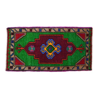 "1970s Hand Made Rug. Colorful Floral Oushak Rug, Bath Mat, Kitchen Sink Decor 1'6"" X 2'11"" For Sale"