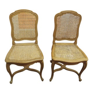 Louis XV Style Side Chairs With Rattan Caning - a Pair For Sale