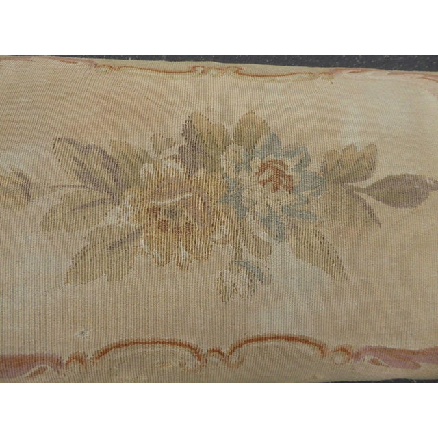 Blue 1960s Antique Carved Wood Floral Tapestry Footstool For Sale - Image 8 of 13