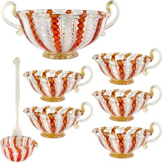 Murano Italian Orange Aventurine Ribbons Art Glass 7 Piece Punch Bowl Set For Sale