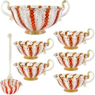 Vintage Murano Italian Orange Aventurine Ribbons Art Glass Mid Century 7 Piece Punch Bowl Set For Sale