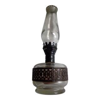 Antique Brass Cased Farms Lamplight Oil Lamp For Sale