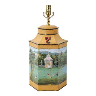 Vintage English Export Hand-Painted Rural Garden Landscape With Pagoda Table Lamp For Sale