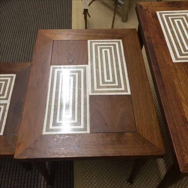 MCM Tile & Walnut Stacking Tables - Image 6 of 9