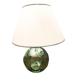 Handblown, Sea Glass Colored, Signed Round Wave Lamp