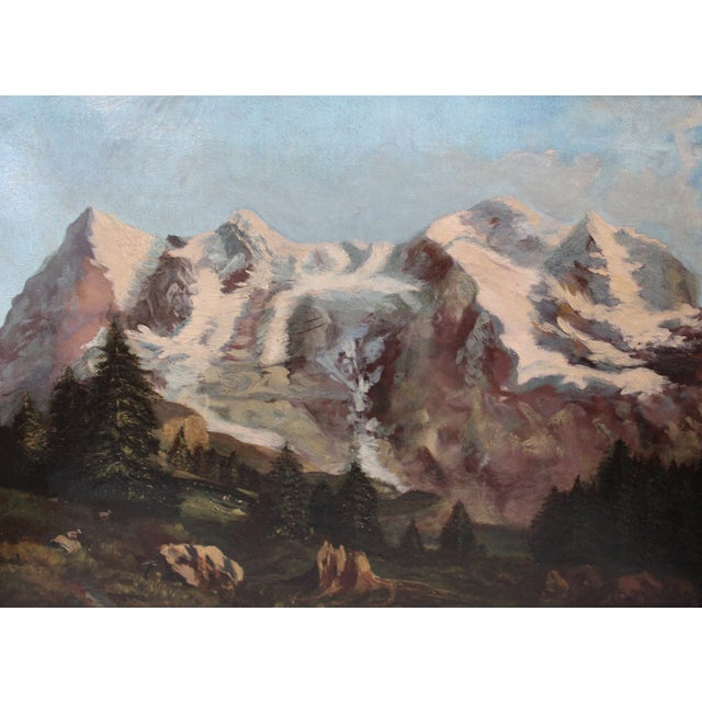 Cabin 19th C. Mountain Landscape Painting For Sale - Image 3 of 4