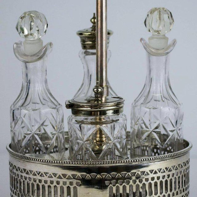 Sheffield Silver Plate and Cut Crystal Cruet Table Lamp For Sale In Denver - Image 6 of 9
