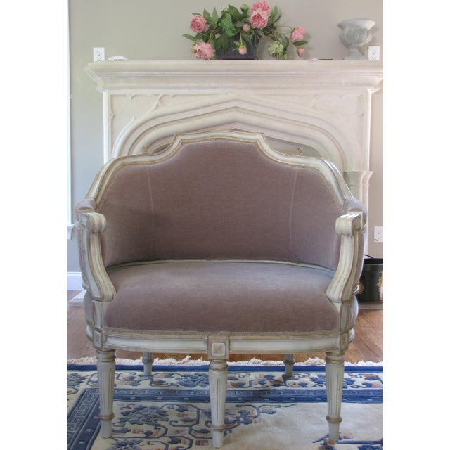 French Taupe Mohair Settee or Armchair - Image 2 of 5