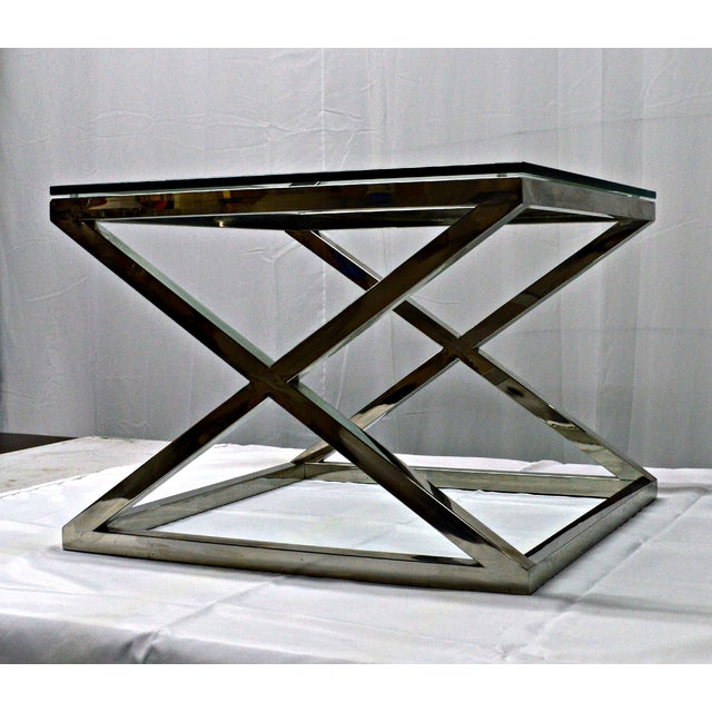 Stainless Steel & Glass Top Square Crossing Table - Image 5 of 8