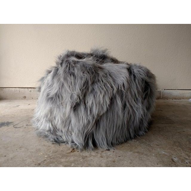 Moon Gray Sheepskin Bean Bag Chair - Image 3 of 7